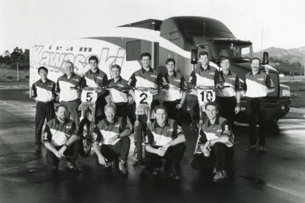 Emig is flanked by Ryan Hughes and Damon Huffman on the '96 Team Kawasaki squad.